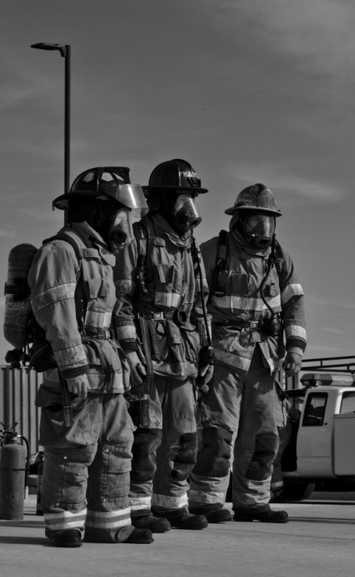 Three fire fighters