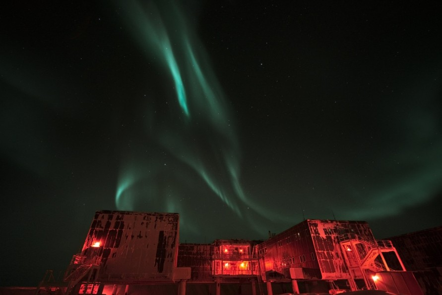 Auroras over the station